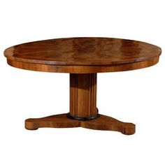 Large Round Century Italian Center Table with Inlaid Top and Pedestal Base Center Table, Vintage Home Decor, Pedestal, 19th Century, Modern Furniture, Dining Table, Base, Antiques, Top