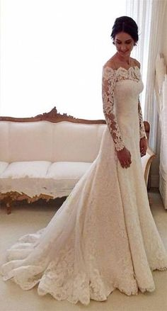 White Off-the-shoulder Lace Long Sleeve Bridal Gowns Sheath Cheap Simple Custom Made Wedding Dresses by maruboo