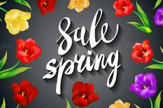 grey Spring Sale colorful tulips by Rommeo79 on @creativemarket