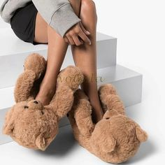 Bear Slippers, Cute Slippers, Faux Fur Slides, Women Slides, Flip Flop Shoes, Cute Teddy Bears, Plush, Nice Shopping