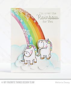 The newest stamp set and Die-namics combo from is the utterly delightful Magical Unicorns. Add a little sprinkle of magic (and maybe some sequins too!) to your projects with this adorable collection. by mftstamps Unicorn Birthday Cards, Unicorn Cards, Rainbow Card, Shaped Cards, Mft Stamps, Animal Cards, Card Making Inspiration, Kids Cards, Cute Cards