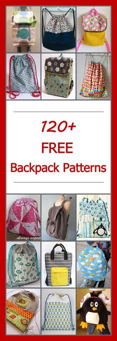 Lots of free backpack patterns, foldover & drawstring. DIY backpack sewing projects & tutorials. Toddler, kids, and school backpacks. Many simple and easy designs.