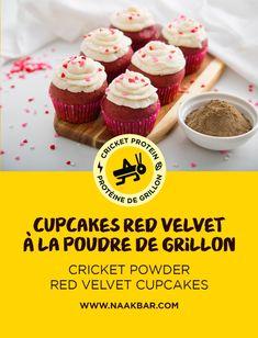 En l'honneur de la Saint-Valentin, nous avons créé une délicieuse recette de cupcakes red velvet à la poudre de grillon, que vous pourrez savourer avec votre amoureux/amoureuse, vos amis et votre famille! ///// In honour of Valentine's Day, we have created a delicious cricket powder red velvet cupcake recipe that you can enjoy with your significant other, friends, and family! Red Velvet Cupcakes, Mini Cupcakes, Kid Desserts, Powder Recipe, We, Cricket, Friends, Recipes, Food