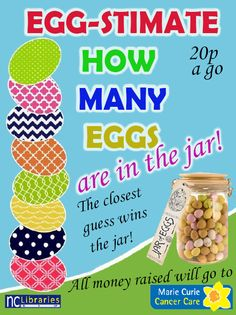 Are you good at egg-stimating? Why not take part in our egg-cellent new contest. It's only 20p a go, and all you have to do is guess how many eggs are in the jar! You could win all of them, which is egg-citing. To take part, go to the main desk at Booth Lane or Lower Mounts library and give us your guess! All proceeds are going to Marie Curie Cancer Care. Good luck!