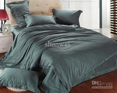 Cheap Home Textile - Best High Quality Tencel Dark Green Prints Duvet Doona Cover Set King Queen Bed Bedding Comforter Sets Online with $163...