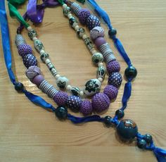 Ribbon strung necklaces, no metal, chunky beads. Beaded Necklace, Necklaces, Chunky Beads, Ribbon, Jewellery, Metal, Fashion, Beaded Collar, Tape