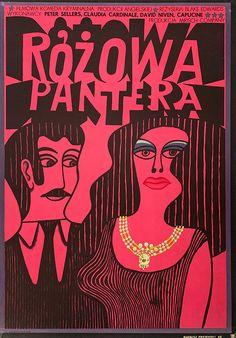 ''The Pink Panther - Rozowa Pantera'' Polish 1963 movie poster. Art Deco Posters, Vintage Posters, Vintage Art, Poster Prints, Saul Bass, Illustrations, Illustration Art, Polish Movie Posters, Film Posters