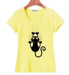 Vtipné dámské tričko s potiskem kočky žluté – Velikost L Na tento produkt  se vztahuje nejen zajímavá sleva 4290baa831