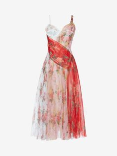 Shop Women's Plissé Midi Dress In Botanical Print from the official online store of iconic fashion designer Alexander McQueen. Kpop Fashion Outfits, Stage Outfits, Mode Outfits, Fashion Dresses, Pretty Outfits, Pretty Dresses, Beautiful Dresses, Casual Dresses, Short Dresses