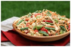 Chinese Chicken Salad with snap peas and red bell pepper