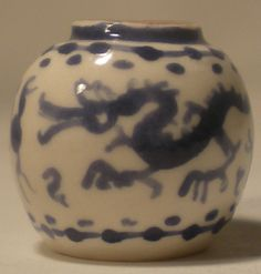 Blue & White Dragon Vase #49 by Rachel Williams - $19.00 : Swan House Miniatures, Artisan Miniatures for Dollhouses and Roomboxes