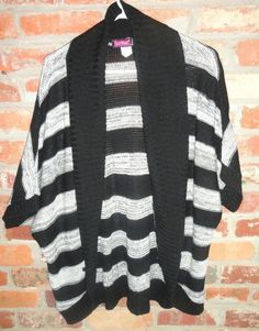 $18.95 OBO Women's Say What Black & Gray Stripe Open Front Cardigan Sweater Tunic Size: Large Free Shipping