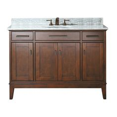 Avanity Madison Tobacco Undermount Single Sink Bathroom Vanity with Natural Marble Top (Common: 49-in x 22-in; Actual: 49-in x 22-in)