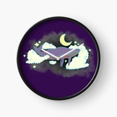 'Dreaming whale' Clock by pixelpixelpixel Quartz Clock Mechanism, Stars And Moon, Hand Coloring, Clocks, Whale, My Arts, It Is Finished, Art Prints, Printed