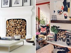 Log Storage | Decorate Your Non-Working Fireplace. I don't know why more people don't do this, rather than just whack a big piece of board over it! Looks so much better.