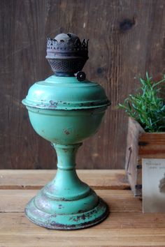 Antique green petrol oil lamp Rustic oil lamp by TallinnVintage