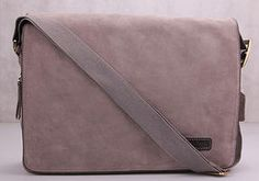 Manhandled Grey Suede Messenger Bags by  MetroMen UK