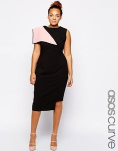 ASOS CURVE Exclusive Dress With Origami Fold Detail