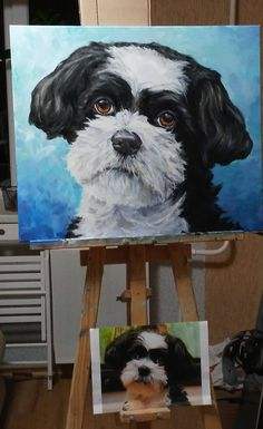 Dog Custom pet Oil on Canvas Original Dog  portrait painting with pet stretched on wood frame artwork made to order   Art
