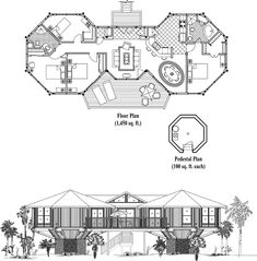 , 4 Bedrooms, 2 Baths, Classic Collection by Topsider Homes Cob House Plans, Round House Plans, Bungalow House Plans, Small House Plans, House Floor Plans, Hexagon House, Bunker Home, Pool House Designs, Hotel Architecture