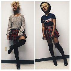 Hat, Atlanta Braves Tee, Sweater, Tartan Skirt