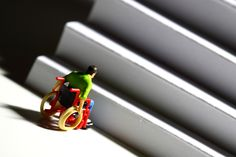 Miniature scale model figure of a disabled man at the bottom of stairs. Disabled People, Barbie Toys, Special Needs Kids, Disability, Kids Toys, Miniatures, Children, Fun, Scale Model