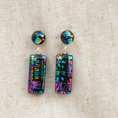 Dichroic Glass Post Earrings Dangle Earrings Fused by IntoTheLight
