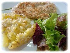 Filé de Frango em crosta de gergelim com Batatas gratinadas
