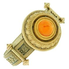 Victorian Etruscan Wirework amp; Carnelian Gold Bracelet
