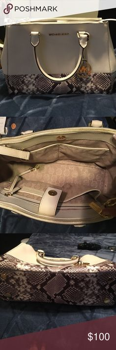 Michael Kors satchel purse Used, in very good condition, beige/snakeskin Michael Kors Bags Satchels