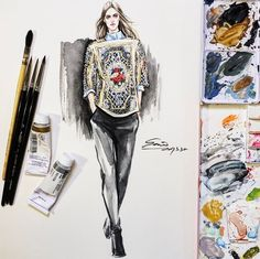 #style #drawing with #aquarelle for #DolceGabbana #fashiondesign #illustration #artwork #sketches #fashiondrawing #fashionsketch