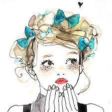関連画像 Art And Illustration, Art Sketches, Art Drawings, Cute Girl Drawing, Figure Sketching, Girl Sketch, Sketch Painting, Pretty Art, Watercolor Art