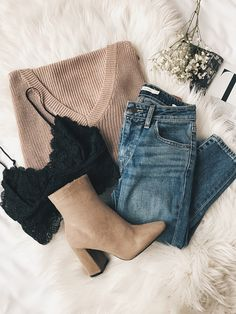 I love this layering! Pretty lacy tank with a light neutral/blush sweater
