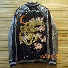 Sukajan Baseball Japan Phoenix Bird Flower Embroidered Souvenir Bomber Jacket…