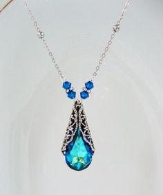 Swarovski Bermuda Blue Crystal Teardrop Pendant Necklace $34 by HisJewelsCreations