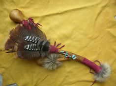 Ceremonial Shamans Fan with Rattle handcrafted by Loran Smith, Eagle's Gift Reiki.