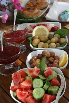 Olives and fresh vegetables