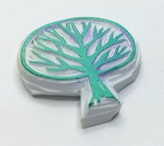 Tree stamp tree hand carved stamp tree rubber stamp forest