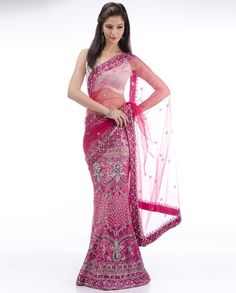 Embellished Fuchsia Lengha Sari - Exclusively In