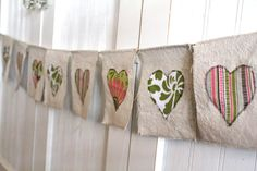 Mini Hearts Canvas Banner Green Pink Brown