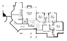 #1 Lower Floor Plan of Mascord Plan 1411 - The Tasseler - Large One Story Plan with Walk-out Basement