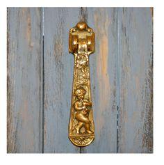 Antique Cherub Door Knocker Brass Art Nouveau Mythological Kenrick & Sons No.425