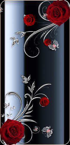 By Artist Unknown. Bling Wallpaper, Flower Phone Wallpaper, Luxury Wallpaper, Butterfly Wallpaper, Heart Wallpaper, Butterfly Art, Cellphone Wallpaper, Mobile Wallpaper, Wallpaper Backgrounds