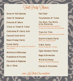 Fall is here! Pick your party date & pick a theme!