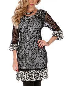 Black & White Lace Leopard Dress by Lily #zulily #zulilyfinds