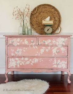 Floral Dresser Made from a White Chippy Dresser would be great less distressed in the guest room #shabbychicdressersdiy #shabbychicdresserswhite #shabbychicfurniture