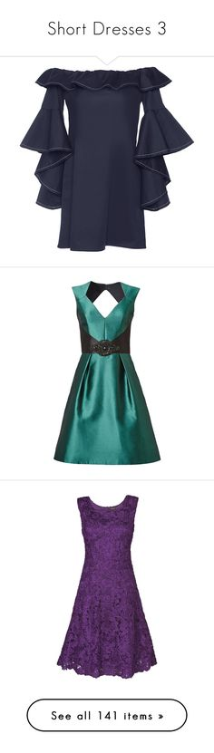 """Short Dresses 3"" by chantel-royal ❤ liked on Polyvore featuring dresses, navy, sleeved dresses, navy dress, flounce dress, long-sleeve mini dress, frilly dresses, short dresses, green and v neck dress"