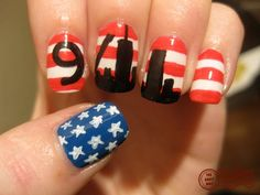 Best Patriotic design, EVER! (The Daily Nail by amy nail art) Crazy Nail Art, Crazy Nails, Fancy Nails, Love Nails, Pretty Nails, My Nails, Pretty Toes, Nail Polish Designs, Nail Designs