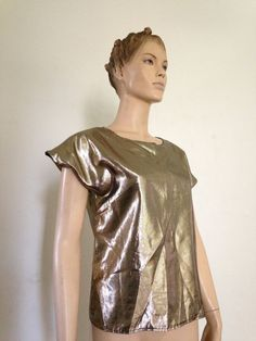 8e75bc4e4a Items similar to Vintage Disco Liquid Gold Glam Top small medium on Etsy
