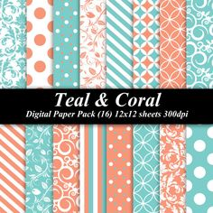 Teal and Coral Paper Pack (16) 12x12 sheets 300 dpi scrapbooking invitations orange blue via Etsy